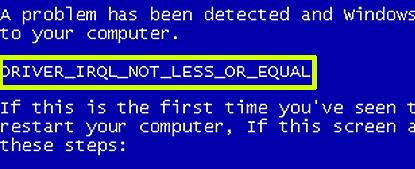 Windows XP virtual machine fails to boot  IRQL_NOT_LESS_OR_EQUAL