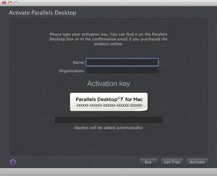 Parallel desktop 7 activation