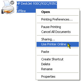 The printer status is