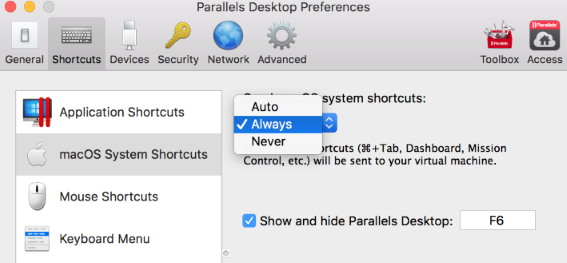 mac os parallels function keys