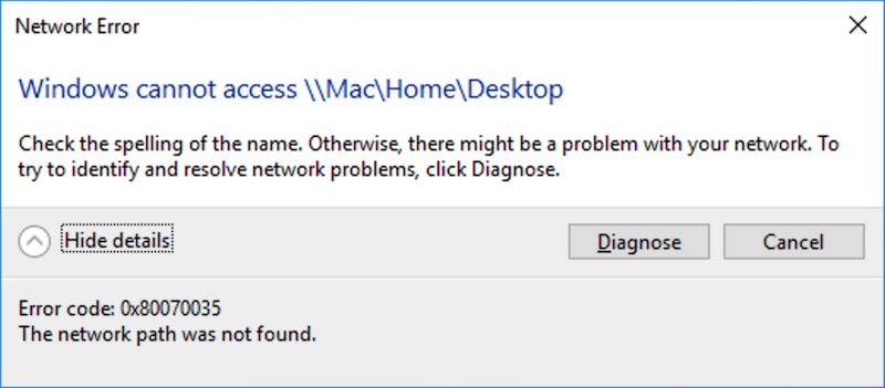 Windows cannot access \MacHomeDesktop error