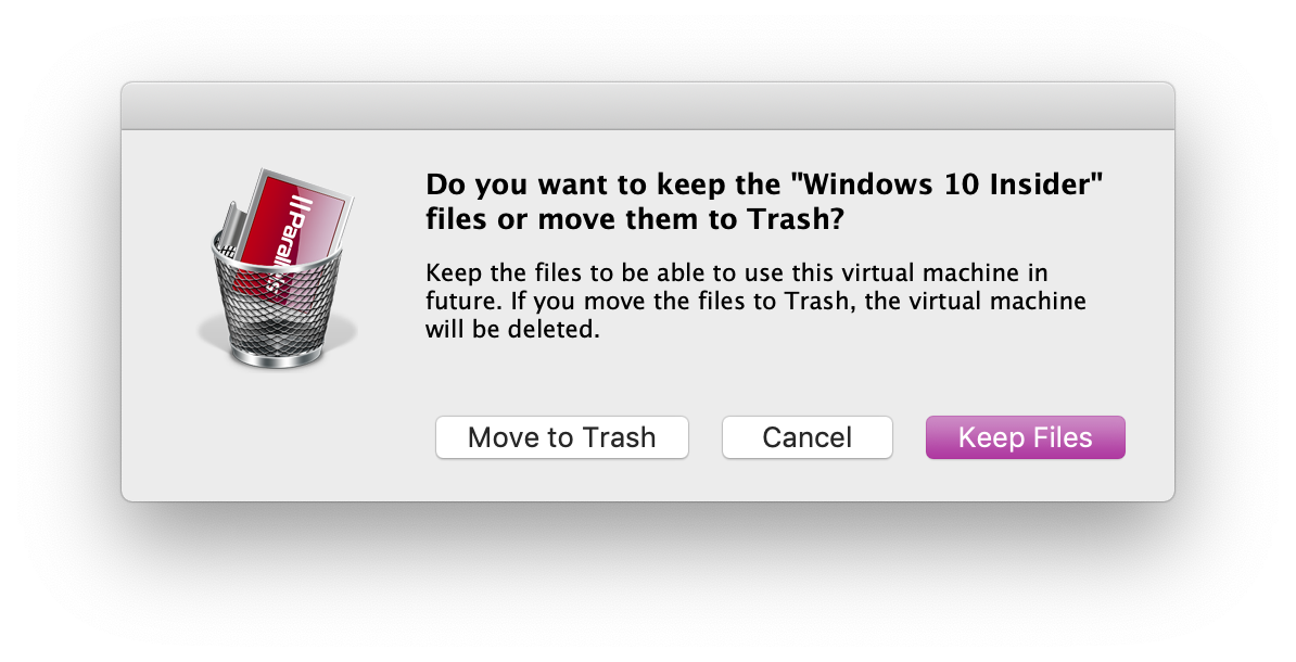 Remove a virtual machine in Parallels Desktop for Mac