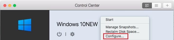 Parallels Control Center Configure