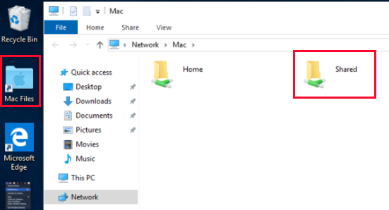 A Mac Shared folder is not displayed in Windows