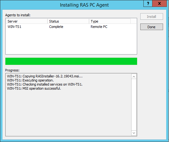 Remote PC Agent installed successfully