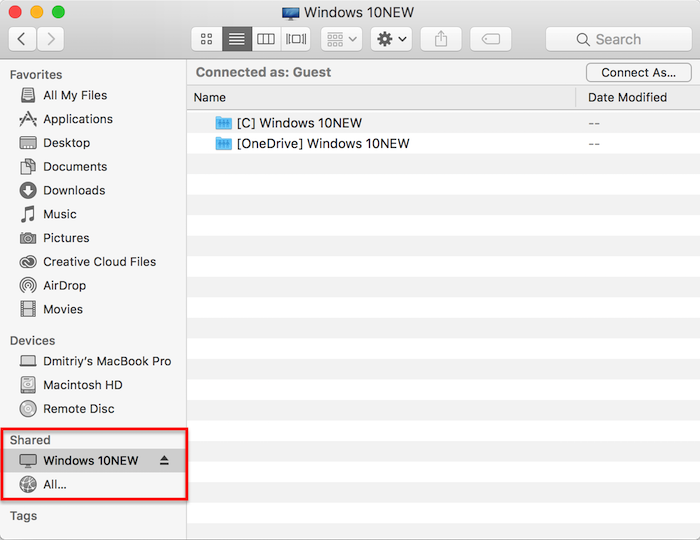 How to access Windows files from Mac in Parallels Desktop 13 for Mac