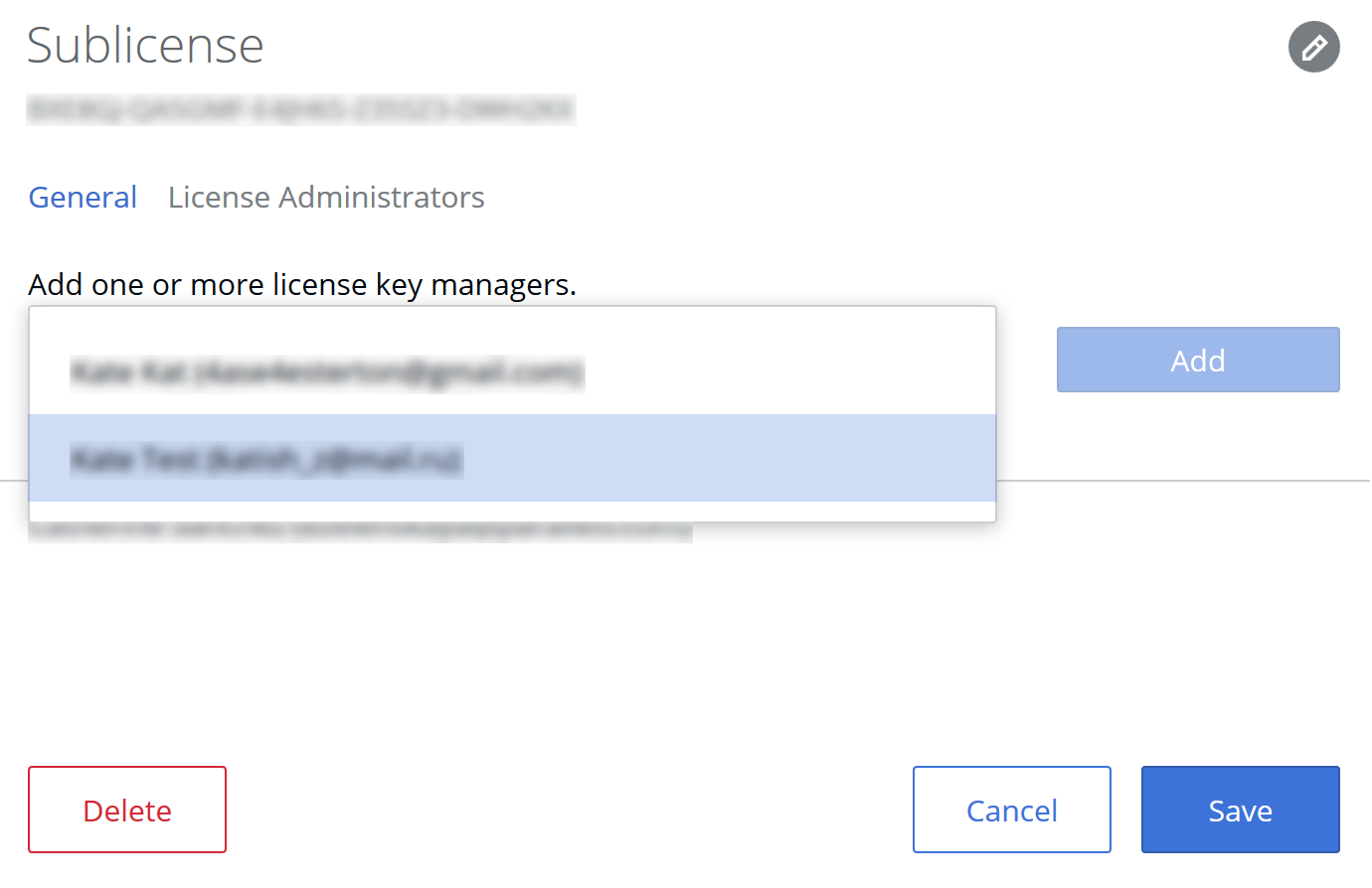 Adding a key manager in a Parallels business account