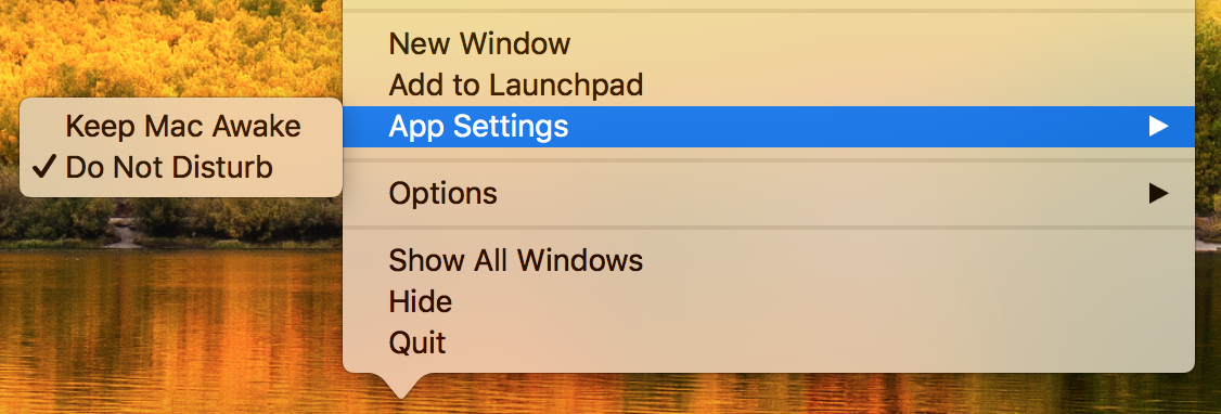 Do not Disturb mode is activated on the Mac after launching