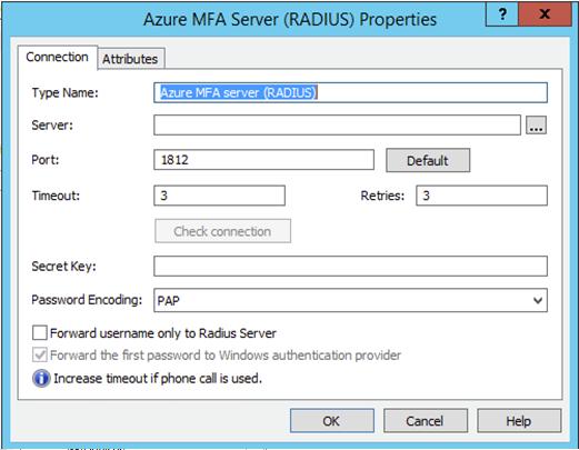 Azure MFA Server (Radius) Configuration