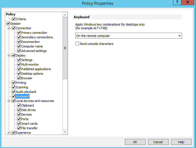 Managing Client Policies in version 16 5