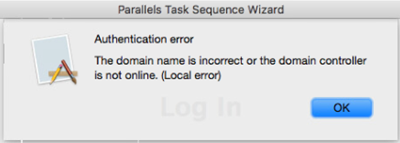 Authentication error during Task Sequence: The domain name
