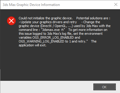 Autodesk 3ds Max 2019 fails to start 'Could not initialize the