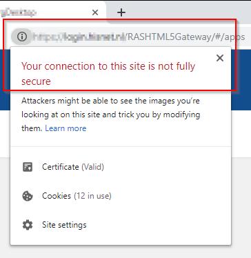 Google Chrome shows warning