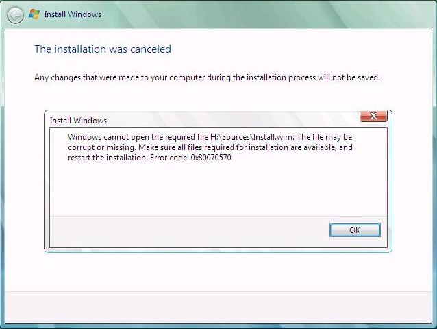Unable to install Windows: The installation was canceled