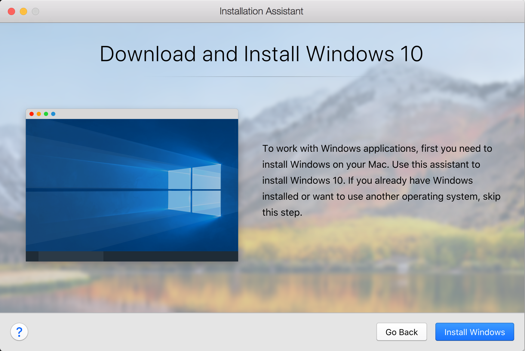 Install Windows on your Mac using Parallels Desktop