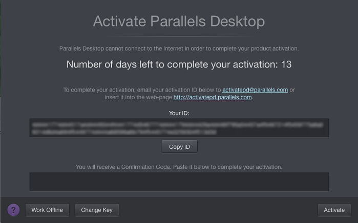 How can I find my activation key for Parallels Desktop for Mac?