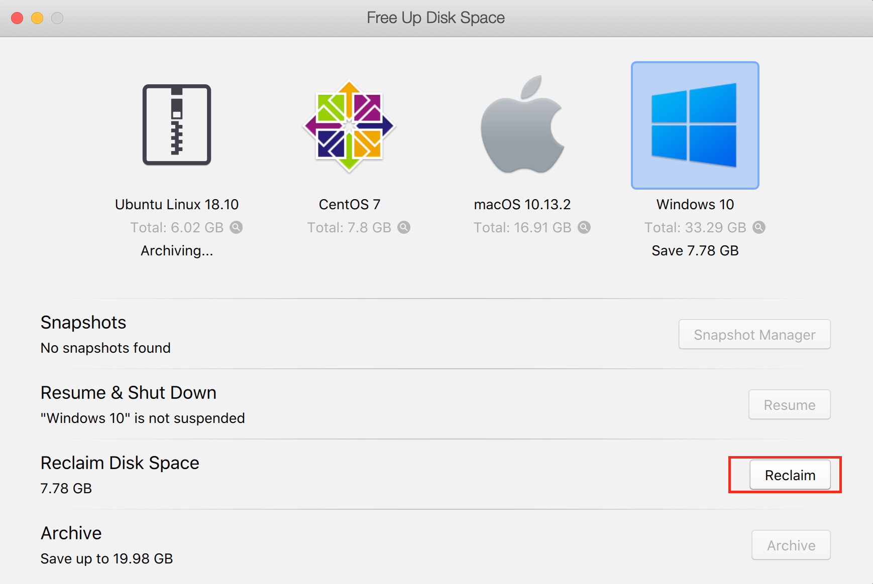 How to reclaim extra disk space from Windows virtual machine