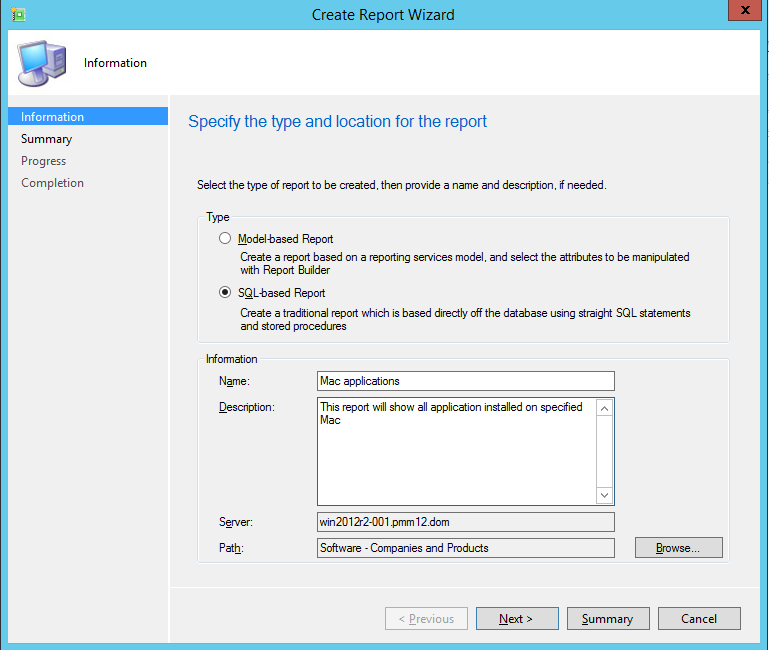 How to create a custom report that shows all applications installed