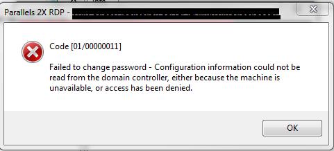 Error [01/00000011] Failed to change password - Configuration