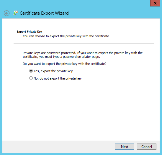 Kb parallels how to issue wsus certificate from local certificate at export private key window check yes export the private key and click next yelopaper Choice Image