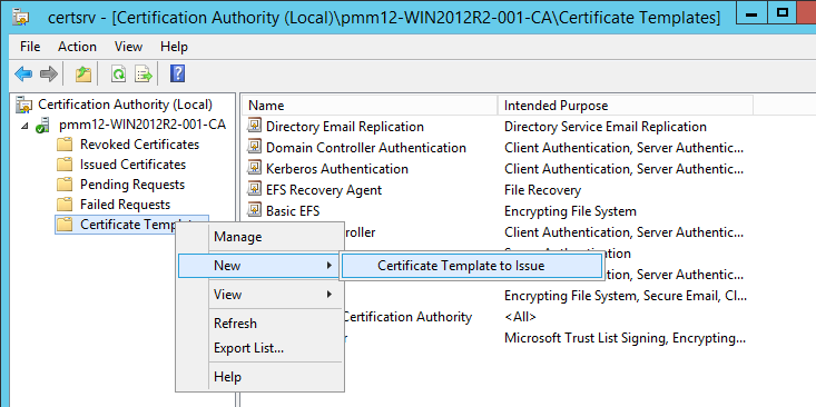 Kb parallels how to issue wsus certificate from local certificate in certificate authority console right click certificate templates new certificate template to issue yelopaper Image collections