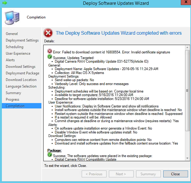 The Deploy Software Updates Wizard completed with errors: Failed to
