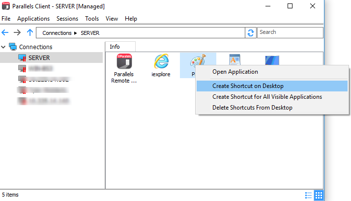 How to create a shortcut for published application