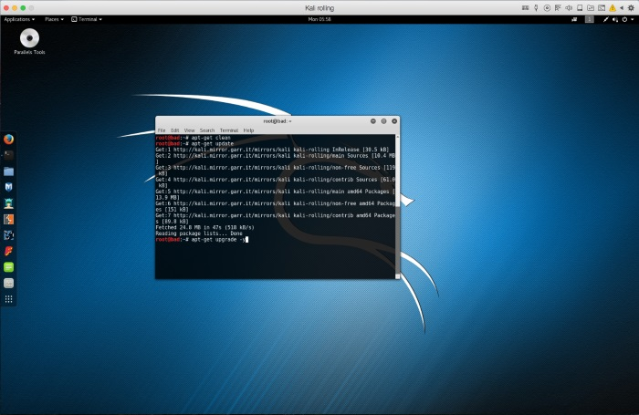 Parallels Tools installation in Kali Linux Virtual machines