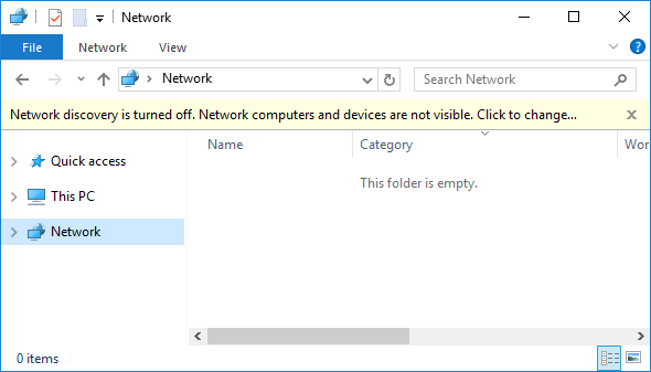what is network discovery is turned off