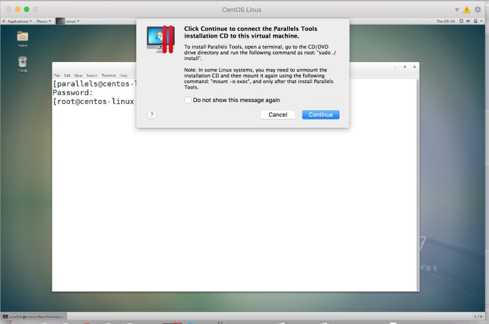 Installing CentOs Linux on your Mac using Parallels Desktop