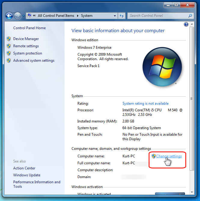 Then, click on the Change... button in the System Properties dialog and  rename the computer: