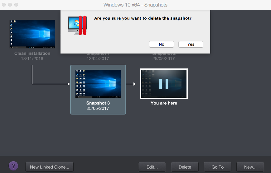 Working with snapshots in Parallels Desktop for Mac