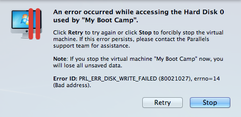 An Error Occurred While Accessing The Hard Disk 0