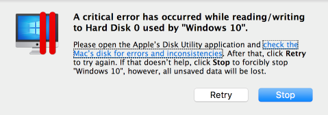 A critical error has occurred while reading/ writing to Hard Disk 0