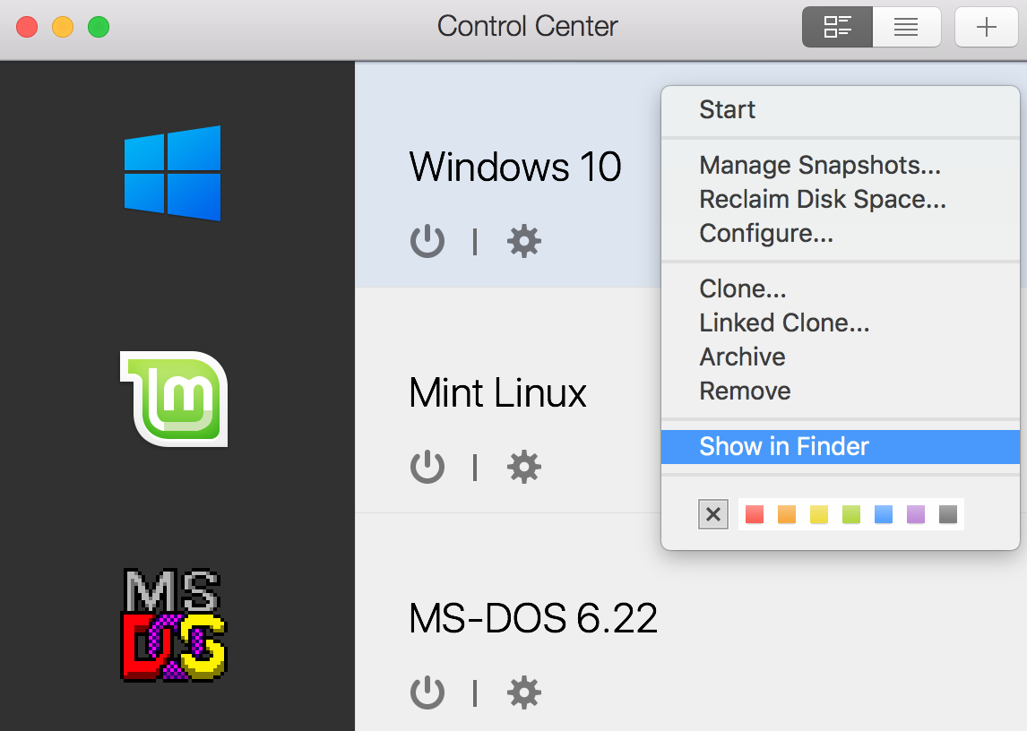 How to find my virtual machine on the Mac?