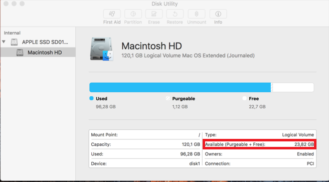 how to find available space mac